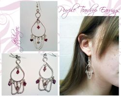 Purple Teardrop Earrings by jkthedragon