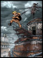 Naruto on Bridge by leonardom9