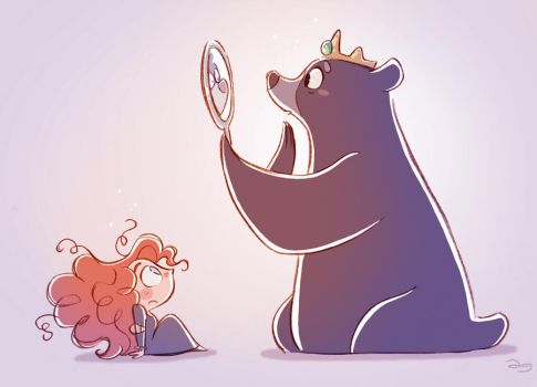 Chibis Merida and Mum Bear from Pixar's Brave by princekido