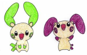 plusle and minun counterparts - adopted by FrozenFeather