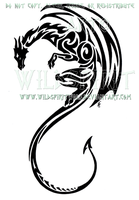 Vertical Tribal Dragon Design by WildSpiritWolf