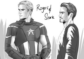 The Avengers : Rogers-Stark quick doodle by Bayou-Kun