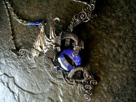 Large Wire Wrapped Pewter Dragon Blue Eye Choker by LadyPirotessa