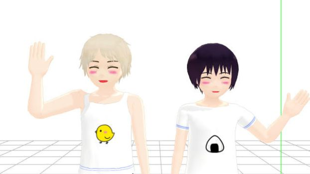 Cute little Prussia and Japan by JadenYukilover530