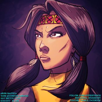 Arvin Bautista Sketches 2017 71/100: Dani Moonstar by greasypigstudios