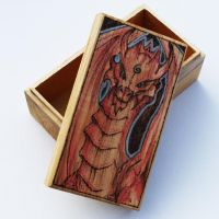 Pyrography Red Dragon Tarot Box by BumbleBeeFairy