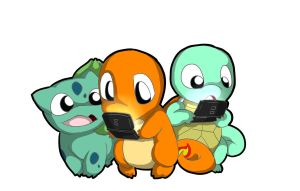 Charmander, Squirtle, and Bulbasaur playing the Ds by Ixxogu