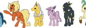 eeveelution ponies by Emerald-Glaceon