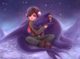Cuddle Buddies: Hiccup and Toothless by kankitsuru