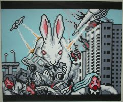 Giant Space Bunny Attacks by PixelArtPaintings
