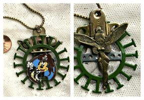 Disney Pirate Mickey Tinkerbell 2 sided Necklace by elllenjean