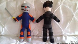 Gray Fox and Solid Snake Plushies by Belle43