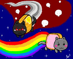 Nyan cat and Tac Nayn by MirandaMaija