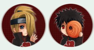 Naruto Button set 2 TobiDei by Radittz