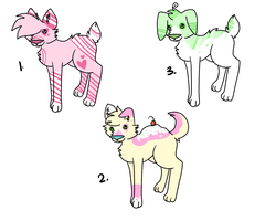 .:Cheap Candy Pup Adopts:. by Kyarii-chan