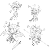 [CLOSE]Sketchbook Adopts{GORE+FANTASY RPG] by punkion