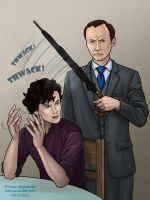 Mycroft, in the kitchen, with an umbrella by kitsuneko