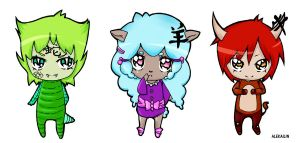 Chinese horoscope chibis: snake, sheep and ox. by AleKaiLin