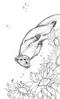 Otter and Sunflowers by Twilight-Kairi