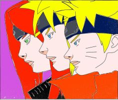 Naruto and his parents colored by TaintedYaoi