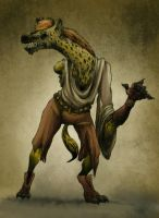 One-Armed One-Eyed Gnoll by ceallach-monster