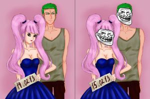 One Piece: Perona and Zoro. by Okssi