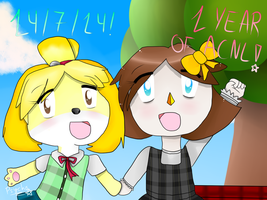 :ACNL: 1 year! (+Speedpaint) by PsychopathLuxray