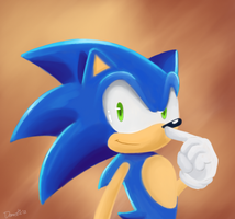 A painting of Sonic by Domestic-hedgehog