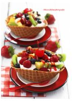 Waffle Bowl w/ Fresh Whipped Cream n Fruit by theresahelmer