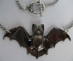 GUNMETAL Bat Necklace by Horribell-Originals