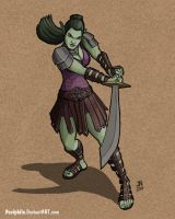 Shirith, Half-Orc Fighter by Pasiphilo