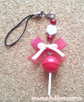 Cherry  Lollypop Phonestrap by mashlimaro