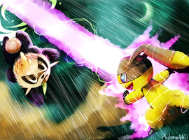 Helioptile and Pancham Pokemon battle! by Phatmon