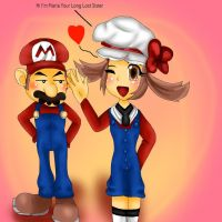 Mario Meet he long lost Sister by WhiteMageTifa