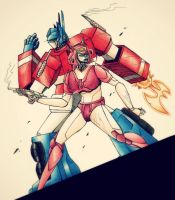 PC - Optimus and Elita G1 by Airaly