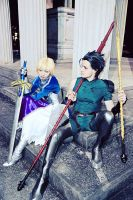Saber and Lancer - The Knights VI by blue-ly