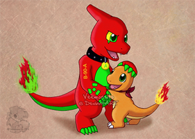Charmeleon hugs Charmander by Veemonsito