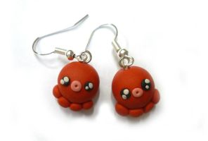 Kawaii red octopus earrings by TenereDelizie