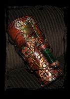 steampunk leather bracer side view by Lagueuse