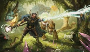 Fall States Playmat: Wizard Battle by ALRadeck