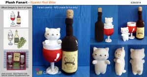 San-X Fanart - Nyanko Red Wine plush by catfruitcup