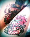 AMORE husband and wife SKULLS TATTOO by BeautyDNBeast