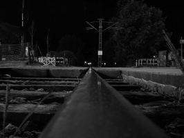 Railway to Infinity BW by Naynee75