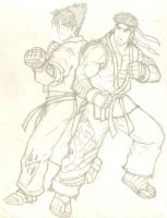 Rough Sketch: Ryu and Jin by TheALVINtaker