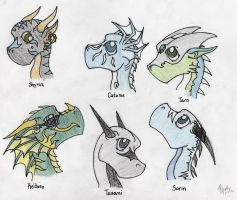 Chibi Dragons by Tusami