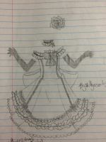 An old sketch of Syuri's party dress by Scarletcat1
