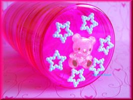 Hot Pink Bear and Stars by ImperfectKawaii