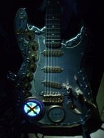 steampunk guitar by night by Spagheth