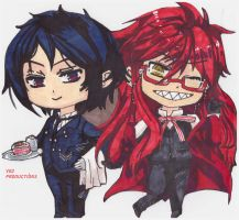 Grell and Sebastian Chibis! by vctoriabb2