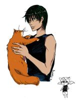 Kaidou with cat by GerVOlg